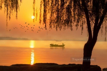 sun - Boat in Gold Sunset on Lake Landscape Painting from Photos to Art